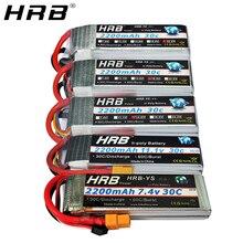 HRB 2200mah 2S 7.4V Lipo batterie T Deans XT60 30C 3S 11.1V 14.8V 18.5V 22.2V 3.7V 4S 5S 6S RC Drone FPV avions voiture bateau pièces