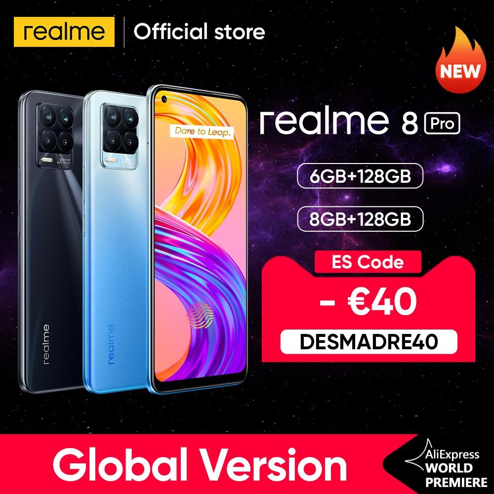 [World Premiere In Stock]realme 8 Pro 108MP Camera Global Version Snapdragon 720G Smartphone 6.4'' AMOLED 50W Super Dart Charge