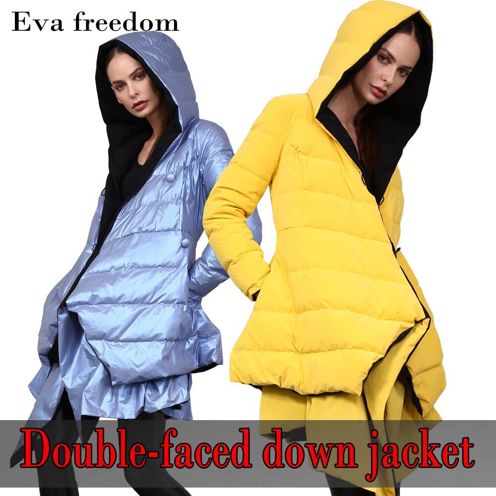 إيفا الحرية تصميم جديد لامعة اللون سترة فتاة الموضة 90% الأبيض بطة أسفل 2020 الشتاء الوجهين السيدات طويلة أسفل سترة