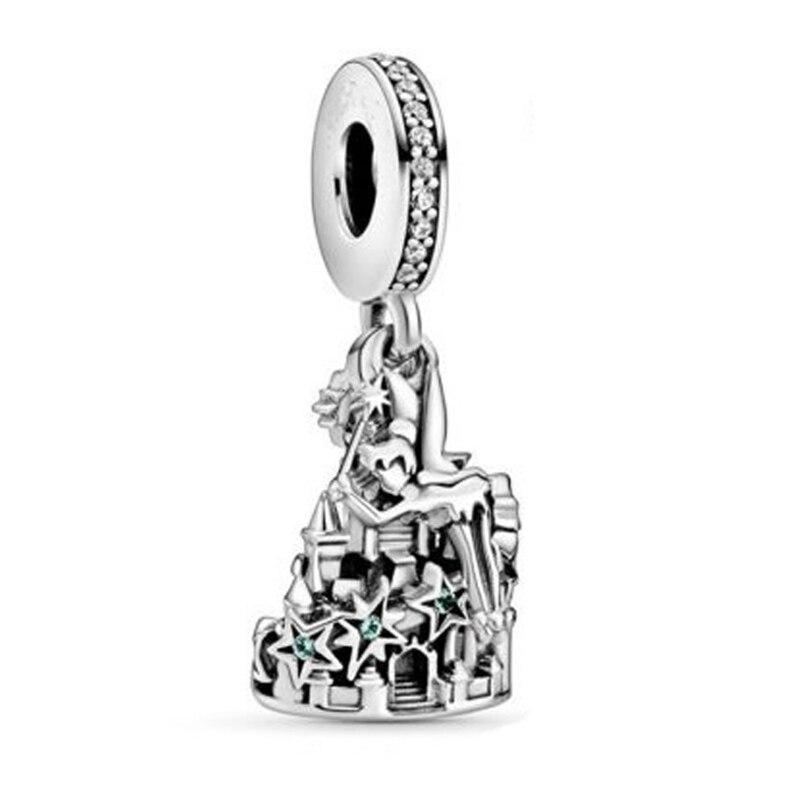 ¡Novedad de 2020! Colgantes de plata de ley 925 con cuentas de bailarina y estrellas para colgar en el castillo, abalorio compatible con pulsera Pan Original para mujer, joyería DIY