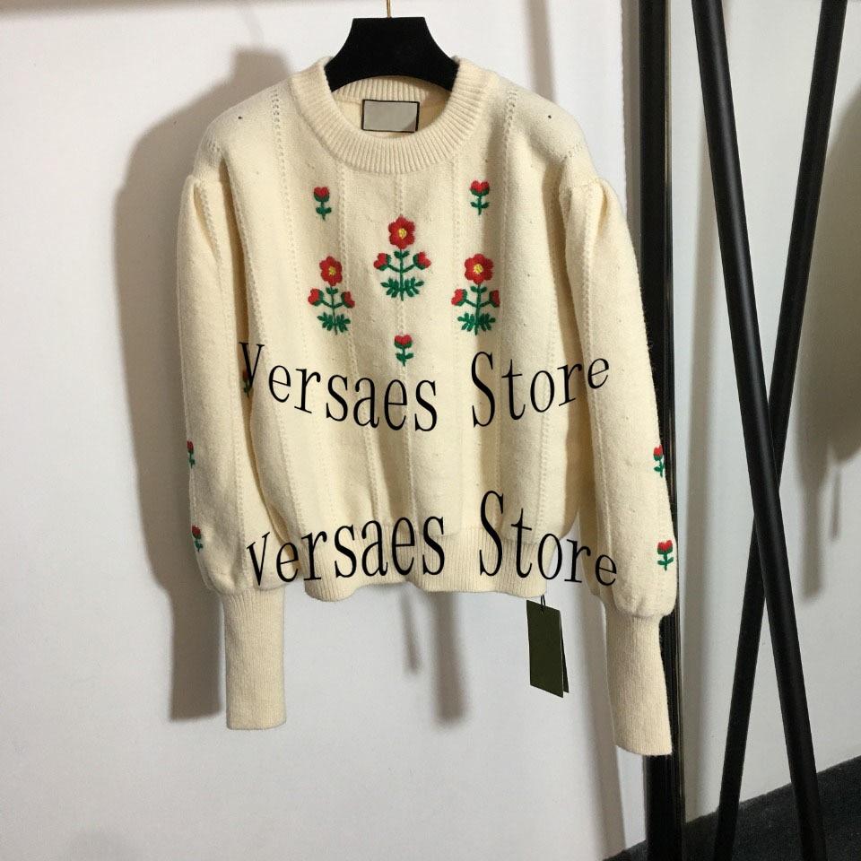 21 luxury design little red flower embroidery fashion women's Lantern long sleeve sweater temperament versatile Pullover Sweater enlarge