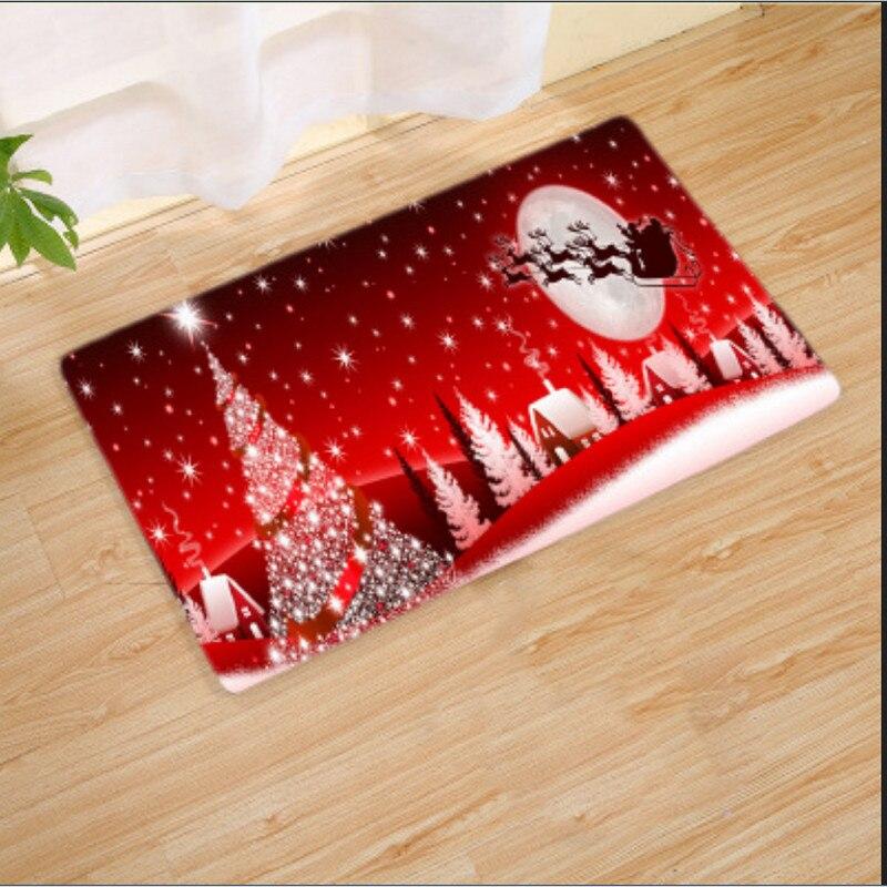STOCK de EE. UU. Navidad Santa Claus antideslizante cocina habitación alfombra de franela alfombra