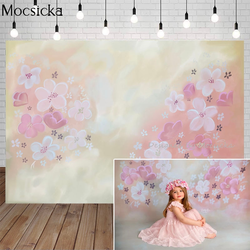 Fondo fotográfico de flores Mocsicka, estilo dibujado a mano, telón de fondo amarillo claro, retrato de niños, accesorios de decoración para foto de estudio