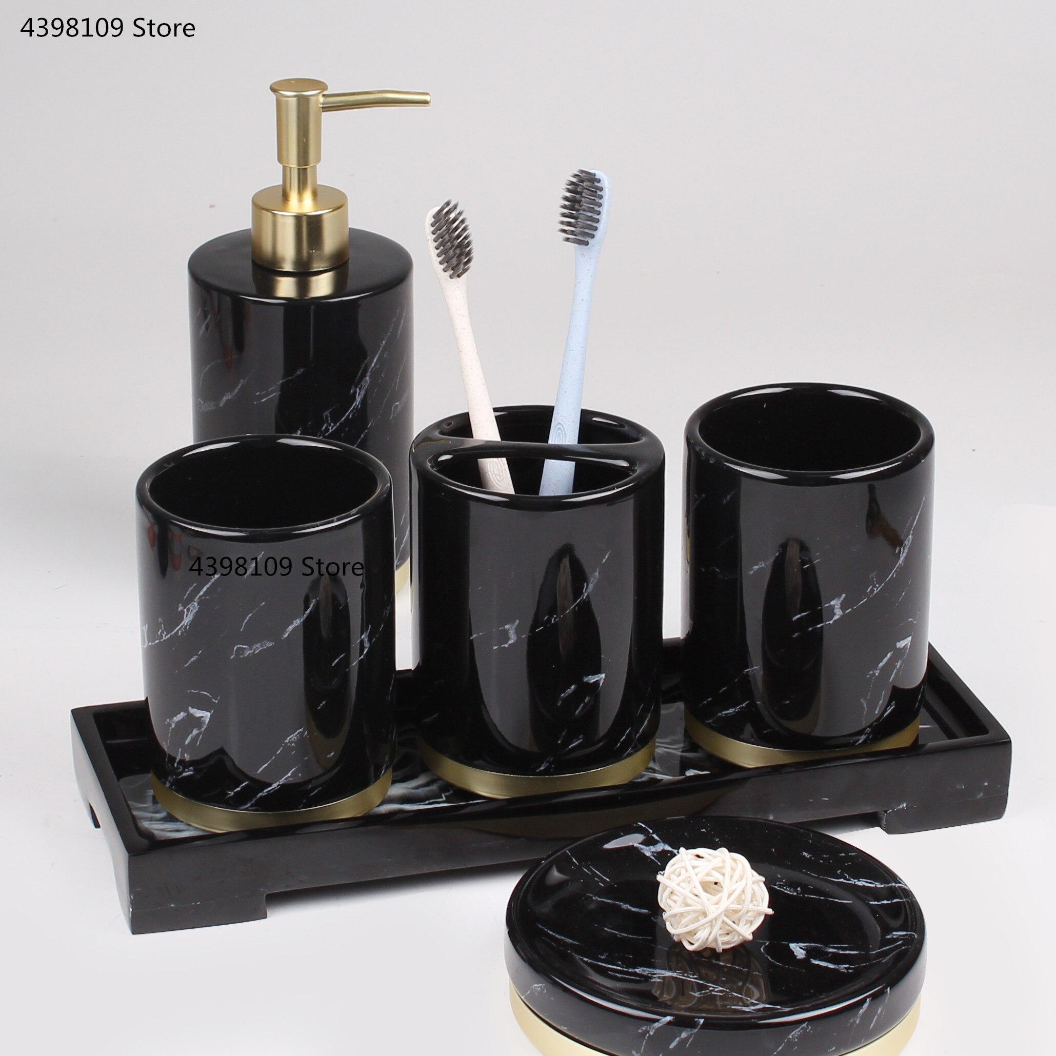 Schwarz marmor textur keramik bad lieferungen/bad zubehör mit dispenser zahnbürste halter seife dispenser tablett