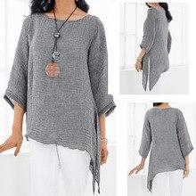 Moda lato luźne damskie topy z okrągłym dekoltem lniane koszulki 3/4 rękaw Casual asymetria oddychalność nieregularne bluzy odzież S-3XL