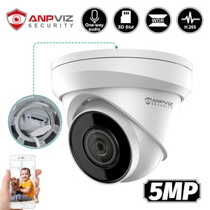 Anpviz 5MP IP Turret POE Camera Security Outdoor Built-in Microphone Cam SD Card Slot IP67 H.265