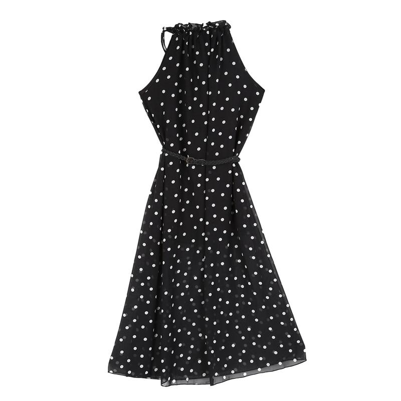Damska szyfonowa kamizelka w kropki Maxi pełna długa sukienka bez rękawów z paskiem w kolorze czarnym