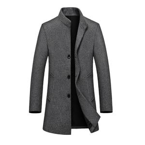Brand Wool Coat Men Runway Luxury Vintage Long Sleeve Wool Blends Warm Woollen Coats Jacket Male Business Outwear 2021 Winter