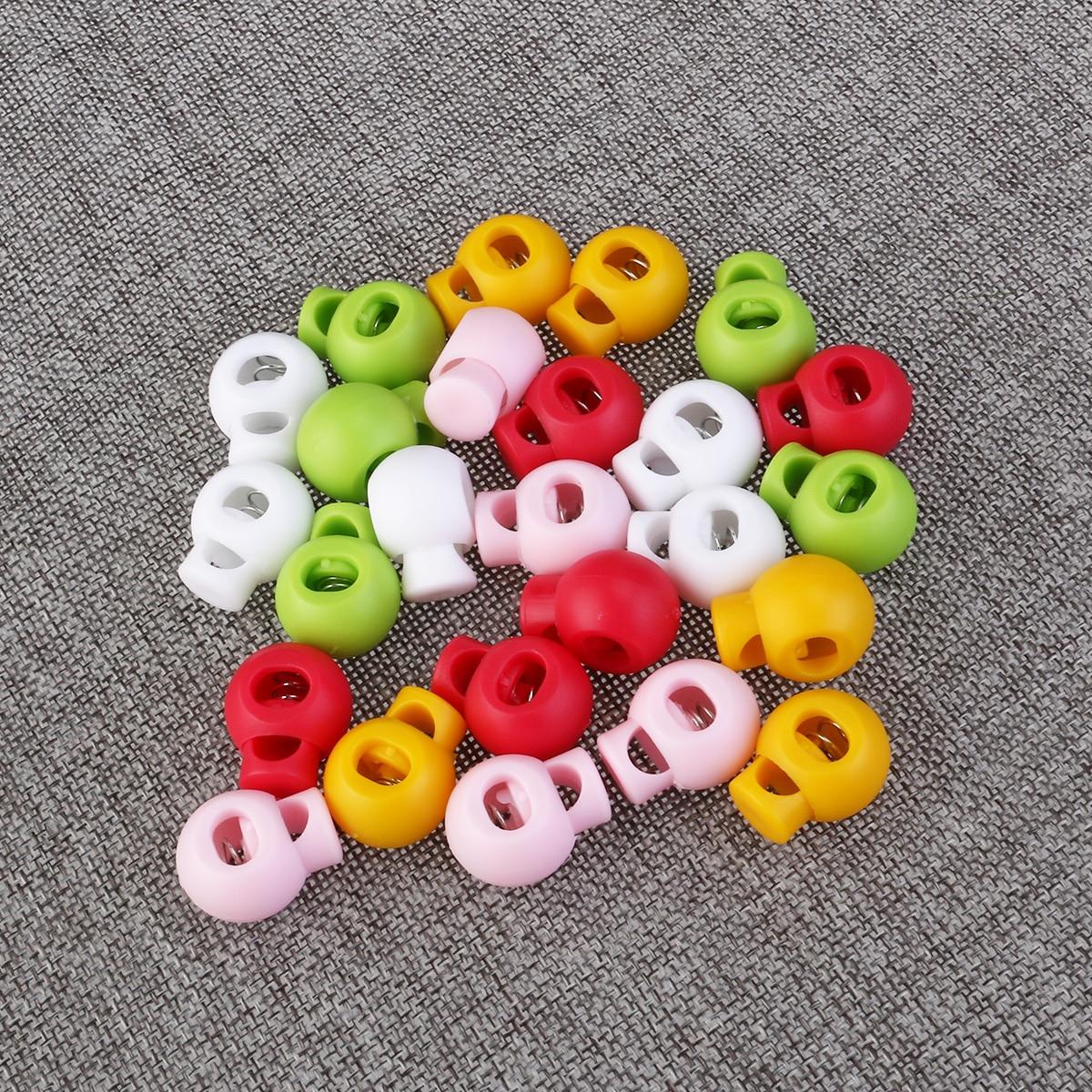 25 peças de vestuário elástico fivela banda primavera carregado plástico redondo toggle rolha cordão fechaduras cordlocks roupas diy acessórios