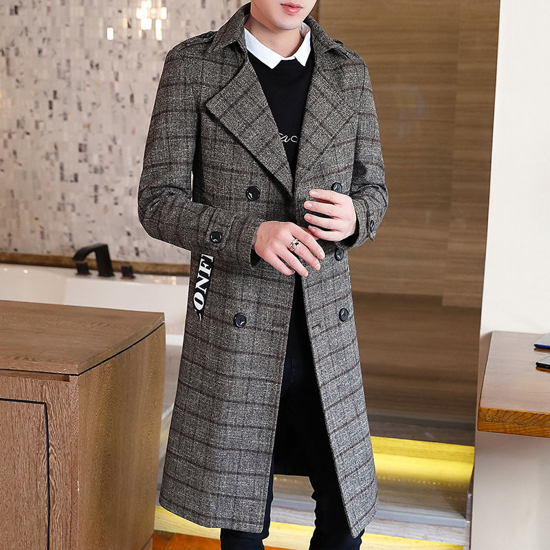 Abrigo de lana de los hombres de invierno ajustadas coreanas la rodilla...