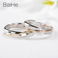 baihe solid 14k whiteroseyellow gold hsi natural diamonds women man ring fine jewelry making wedding band couple ring %d0%ba%d0%be%d0%bb%d1%8c%d1%86