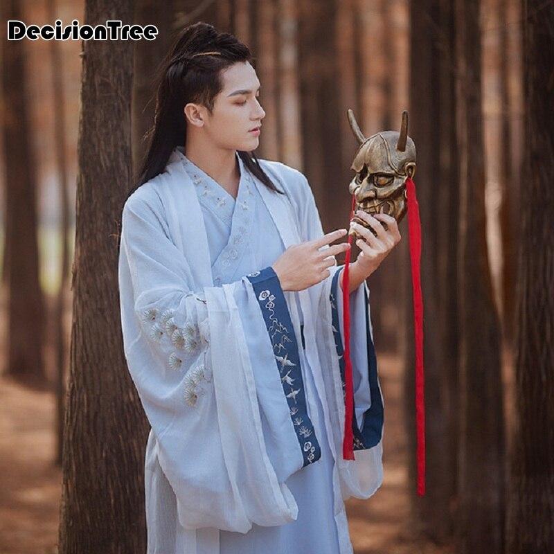 2020 männer Hanfu Chinesischen Traditionellen Tang Anzug Tops Rock Japanischen Samurai Cosplay Kostüm Kimono Hanfu Kleid Yukata Robe Kleid