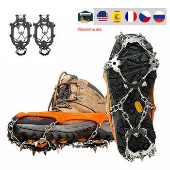 Couvre-chaussures antidérapant en acier inoxydable, 18 dents, Crampons de neige glacée, griffe d'escalade