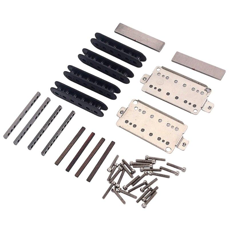 A Set Guitar Humbucker Pickup Kits Producing Accessories/Cupronickel Baseplate/Spacer/Bobbin/ Pole Slug/Bar Alnico V Magnet