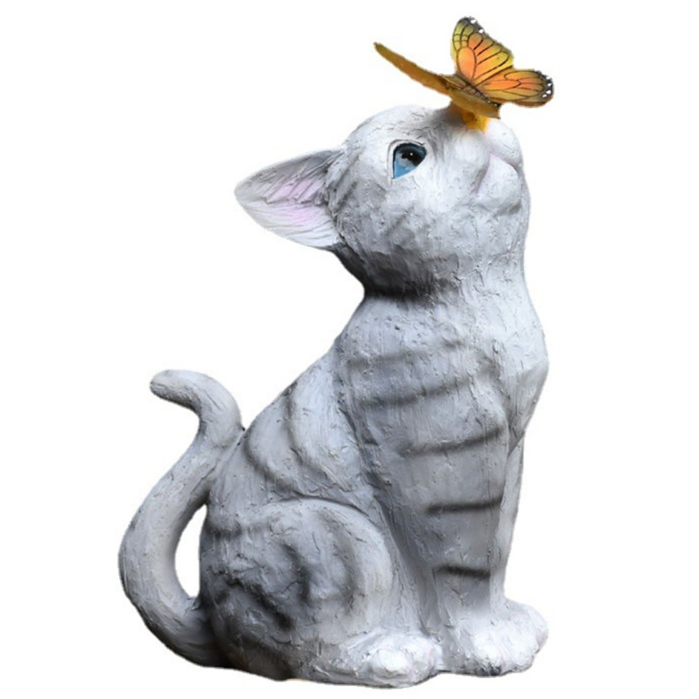 Creative Garden Statue Balcony Cute Cat Decoration Solar Furnishings Ornament Led Butterfly Lamp Home Decor Sculptures Gift