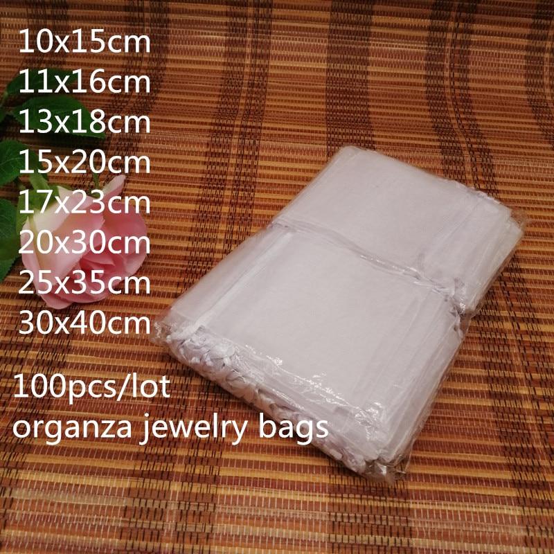 100 pçs branco cordão sacos de organza festa de casamento sacos de presente de natal para embalagem de jóias para bolsa de jóias saco de jóias