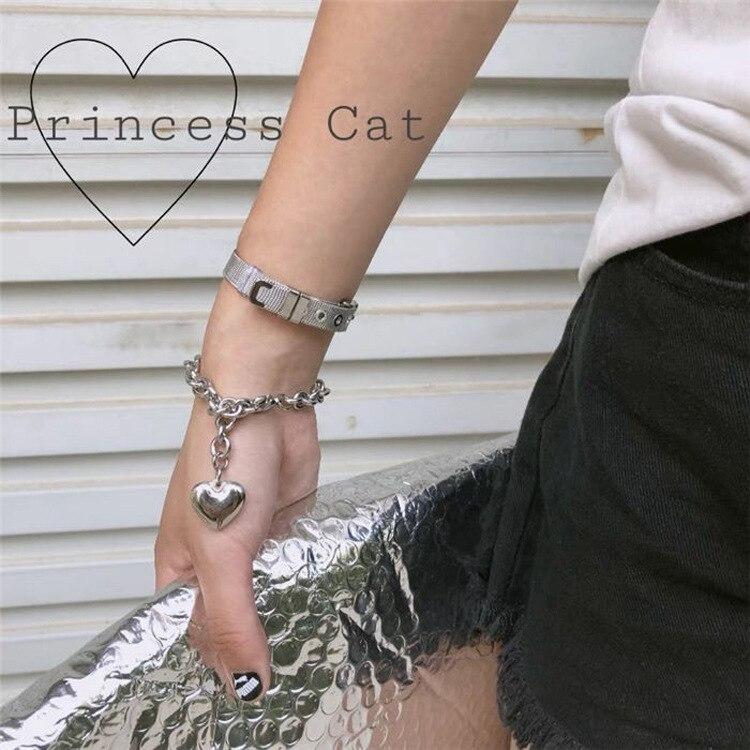 Harajuku pulseira de coração de aço inoxidável para homens mulheres retro jóias sorte pingente presentes festa contas ajustável pulseira