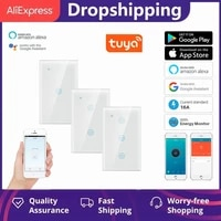 tuya wifi smart switch crystal glass panel touch sensitive switches wall light controller home automation with alexa google home