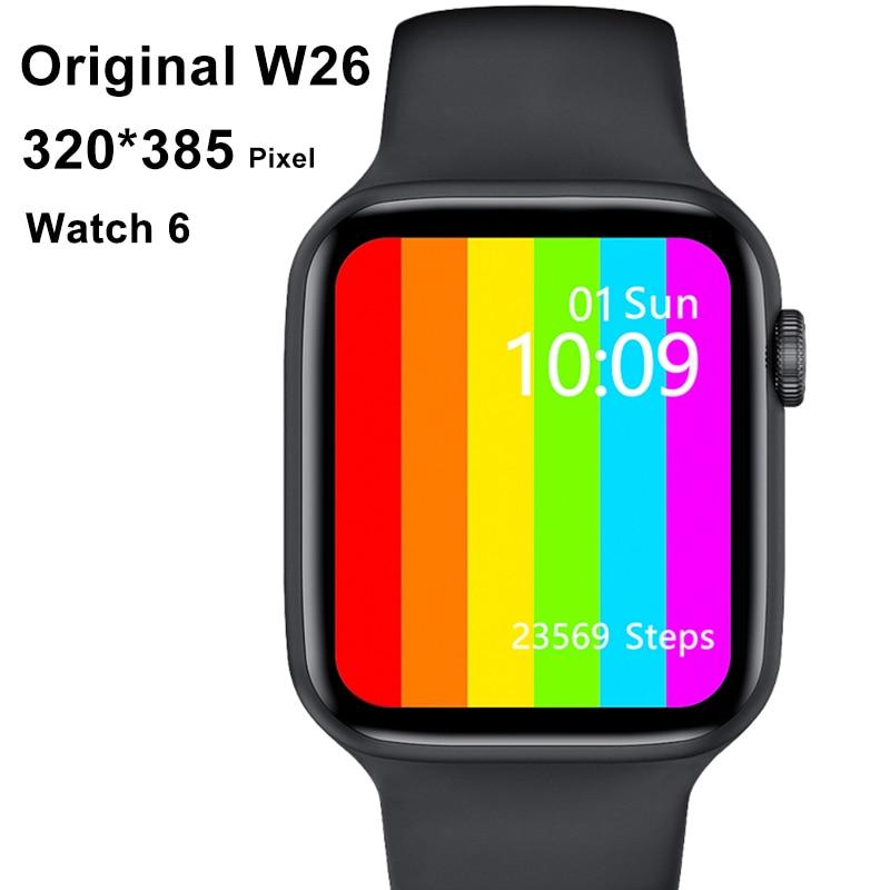 Original IWO W26 2021 Smart Watch Men Women 44MM 40MM Full Touch Fitness Tracker IP67 Waterproof Sma