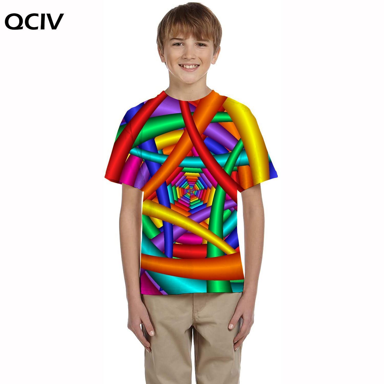 QCIV, футболка с головокружением, детская красочная футболка, печатная Женская Повседневная футболка с рисунком, 3d детская одежда, футболки, н...