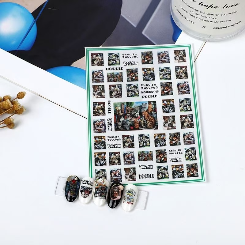 3D Nail Sticker Dog and Cat Design DIY Tips Nail Art Ornament Packaging Self Adhesive Transfer Decal Slider