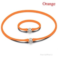 16 inches 10 11mm natural oval pearl orange rubber silicone necklace 7 inches bracelet jewelry set