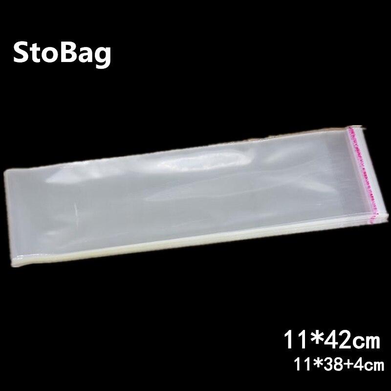 StoBag 200 Uds 11*42cm de largo, grueso, transparente, autoadhesivo, Cello, bolsa de plástico para dulces, embalaje de galletas, bolsa OPP resellable