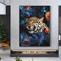 Abstrait mur Art Jungle leopard toile imprime peinture oiseau poisson affiches modulaire decoratif photos pour salon maison deco