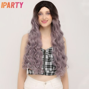 Honey Purple Synthetic Wigs For Women Long Water Wave Middle Part Colored Wigs Fluffy Soft Hair Daily Party Cosplay Wig IPARTY