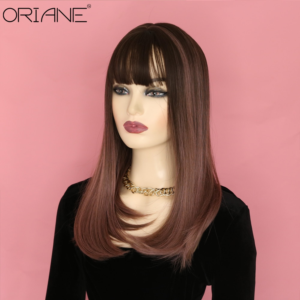ORIANE Long Straight Synthetic Wig With Bangs For Women Chocolate Pink Daily High Temperature Wigs Natural Hairline Cosplay Wig ebingoo sugar sugar rune sangona manier double ponytail brown long straight synthetic cosplay wig with bangs for women
