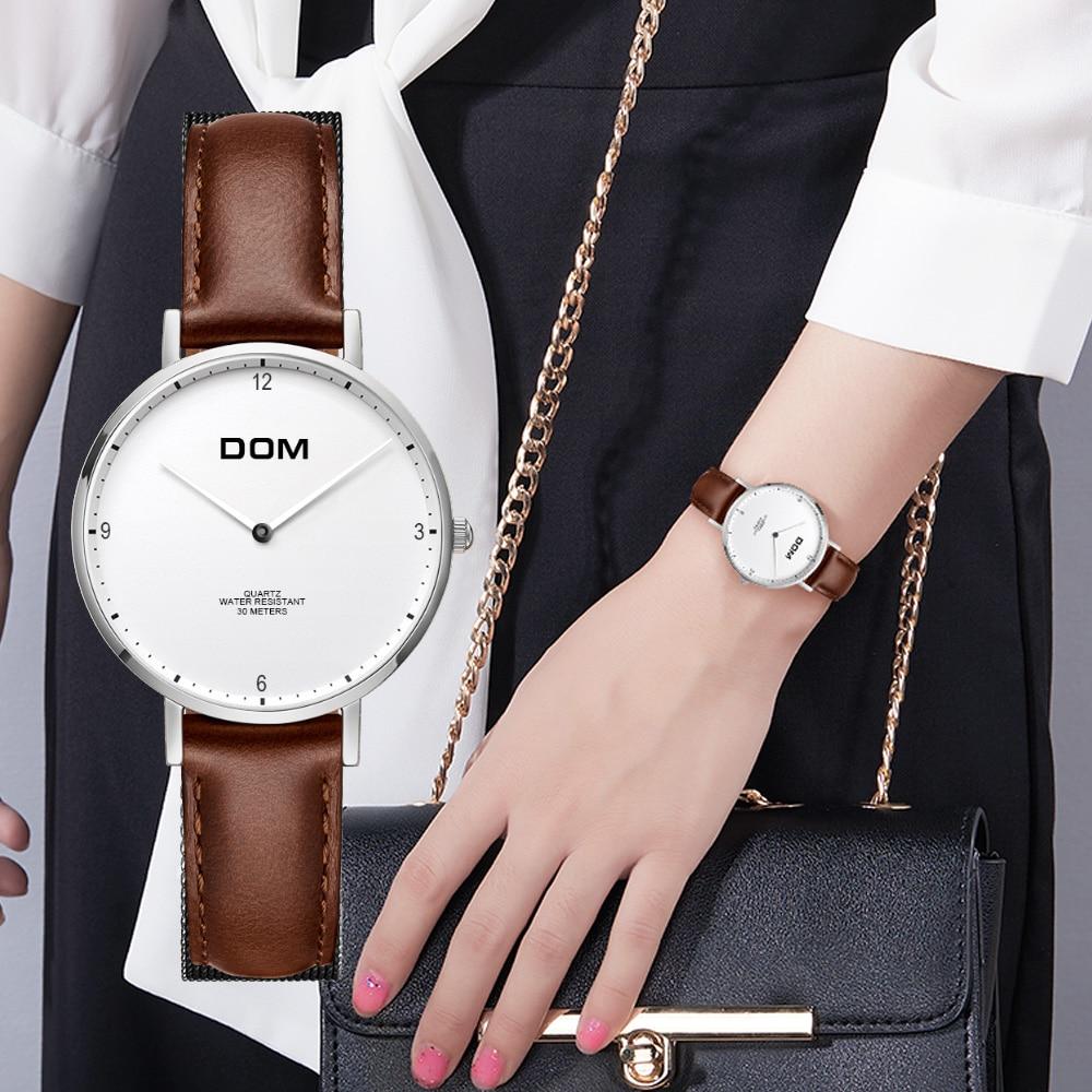 DOM العلامة التجارية الفاخرة المرأة الساعات بسيطة جلد طبيعي للماء ساعة اليد السيدات اللباس المناسب الساعات Relogio Feminino G-36
