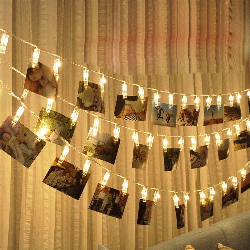 Led strip luz decoração de casamento para casa 1m 10 lâmpada quente clipe de foto led caixa de bateria led guirlanda festa de chuveiro do bebê decoração