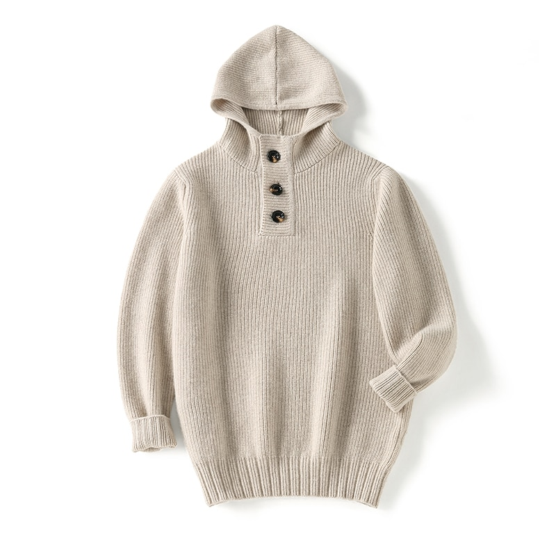 SHUCHAN 100% Cashmere Men Sweater Knit Winter Autumn Warm High Quality Hood Casual Fashion Single Breasted  Business Thick