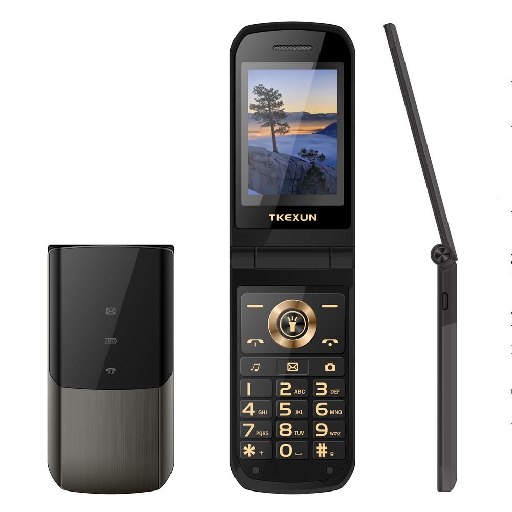 Flip telefones celulares tkexun nk2720 fino clamshell telefone móvel sim duplo metal tocha tela de escrita