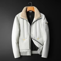 winter new lamb hair stand collar short section slim mens down jacket