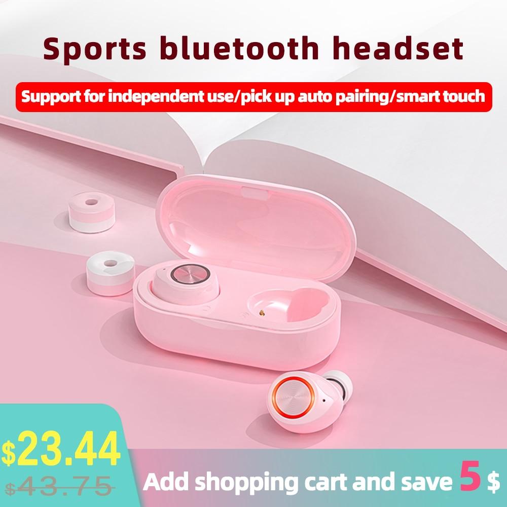 Mini TW60 Pink Cute Bluetooth 5.0 Glowing Earphone Binaural True Wireless Earbuds Touch Hifi Stereo Noise Reduction Headphones