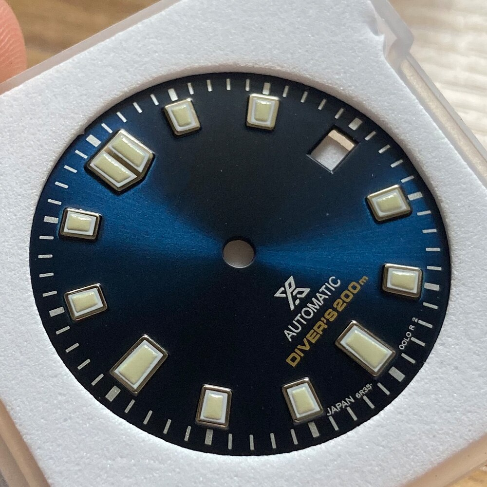 Watch Parts 28.5mm Green/Blue/Black Dial Luminous Marks Date Window Watch Modify Parts Fit NH35/36 Automatic Movement enlarge