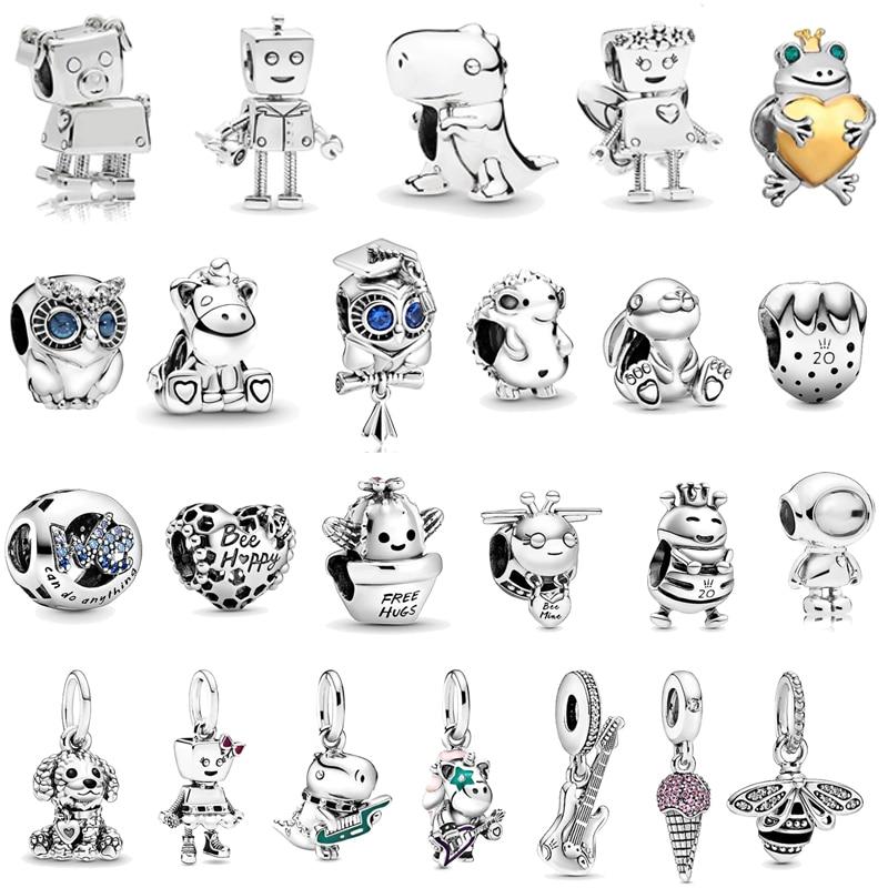 2020 Newst European bead Bunny Shoes owl Punk Band Robot Charm Beads fit Original Pandora Charms All