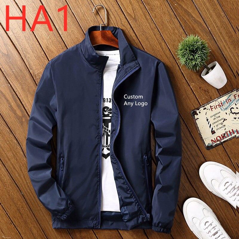 HA1 new Autumn Winter Fashion Bobmer Retro style version Customize any LOGO Men Slim Collar LongSleeve Casual Fleece Jacket Zip