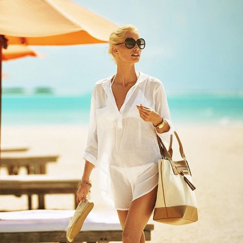 TRODEAM 2021 New Summer Cotton Tunics for Beach Women Swimsuit Cover-ups Woman Swimwear Long Sleeve Transpanent Bikini Cover Up