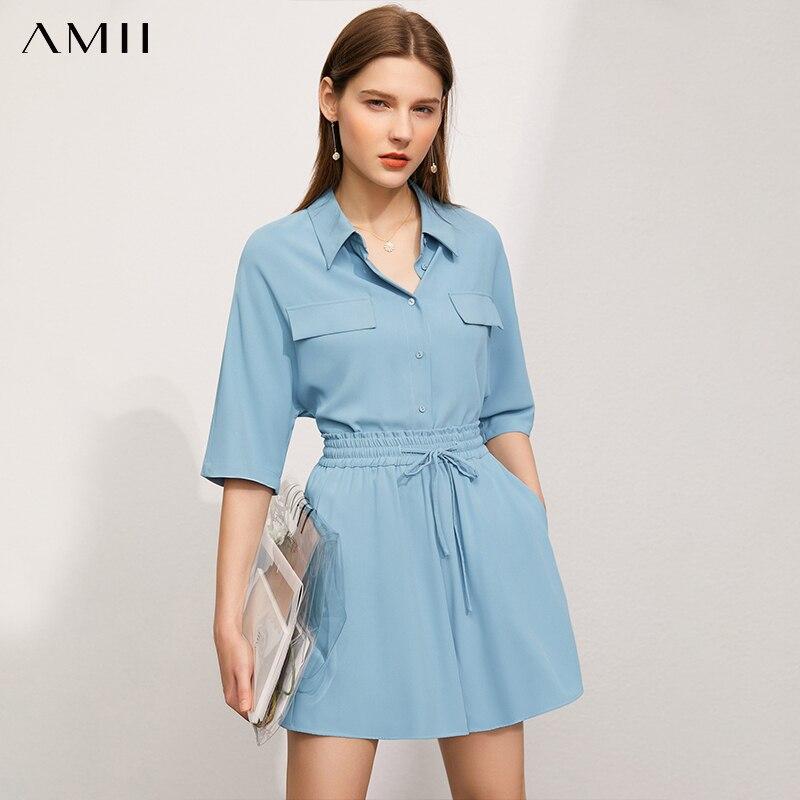 Amii بساطتها الصيف قميص نسائي رسمي سيدة الصلبة المرأة الشيفون قميص السببية مرونة الخصر فضفاض المرأة السراويل 12140623