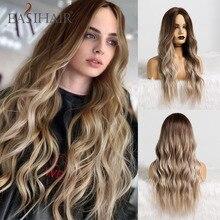 Easihair longo marrom ombre perucas sintéticas natural onda do cabelo perucas para mulheres fibra de alta temperatura diariamente cosplay perucas