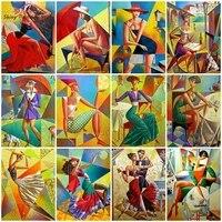 Peinture diamant femme abstraite de Style Picasso  broderie 5D  mosaique artistique  decoration murale Vintage  bricolage
