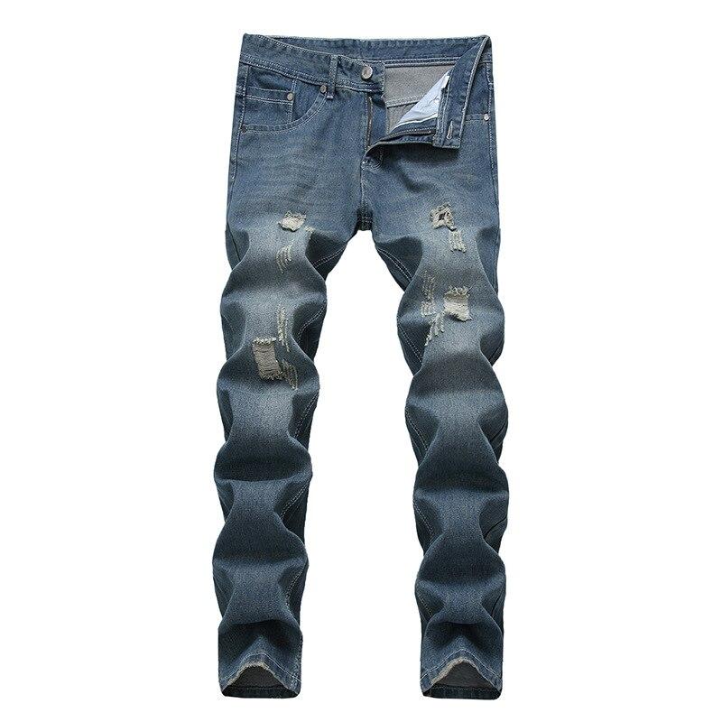 Men Elastic Jeans 2021 Solid Color Stretch Streetwear Mens Blue Casual Denim Pants Straight Cowboy Trousers