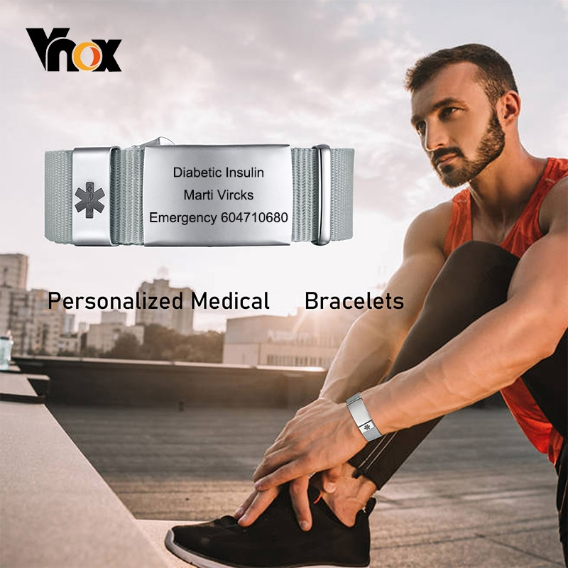 Vnox Personalized Mesh Band Medical Alert ID Bracelets with Buckle,Casual Stainless Steel Wristband for Men Women,Adjustable customized silicone medical alert id bracelet waterproof stainless steel adjustable emergency identification bangle wristband