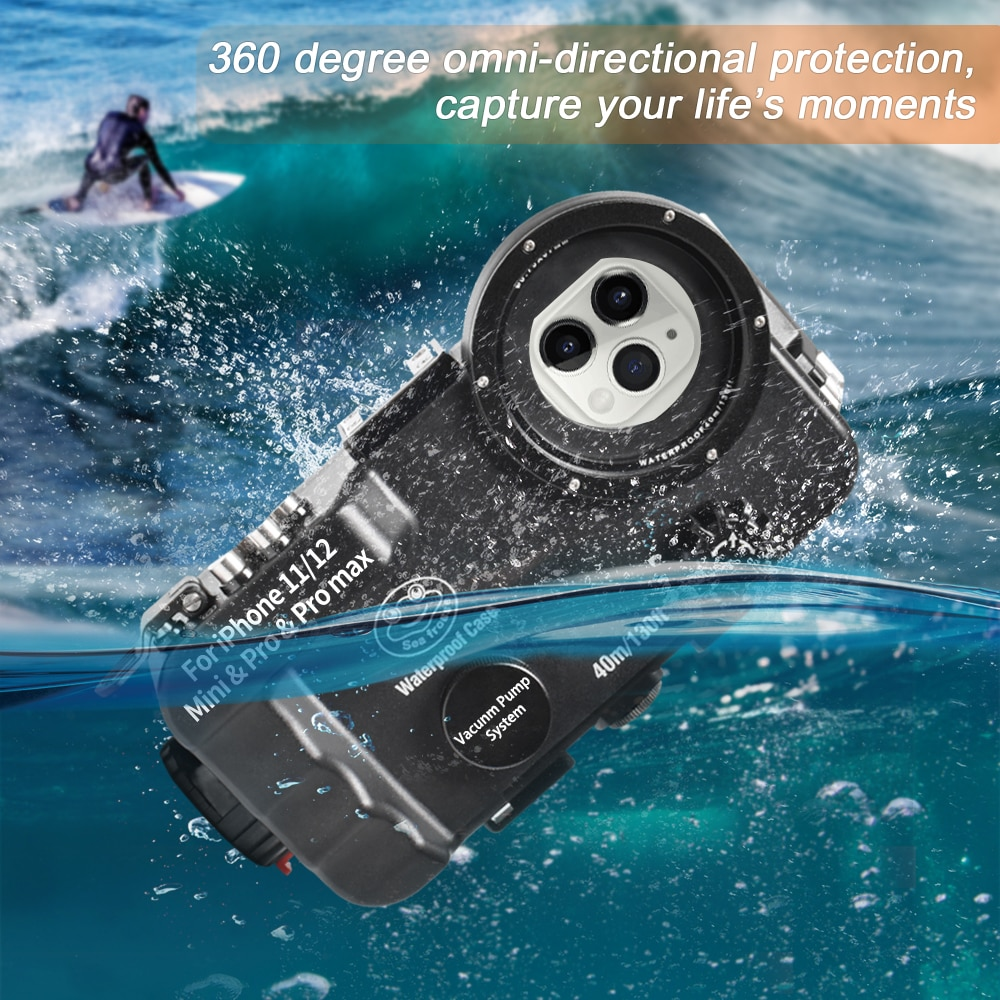 Get Bluetooth Control Waterproof Phone Case For iPhone 11/12 Mini&Pro&Pro max Underwater 40/130fit Professional Diving Case