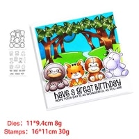 lion cat hippo metal cutting dies and stamps stencil for scrapbooking photo album embossing decorative diy paper cards
