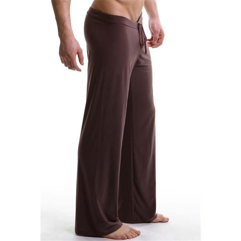 Sleepwear for Men Solid Color Casual Loose Sleeping Pants Elastic Waist Lounge Pants Long Drawstring