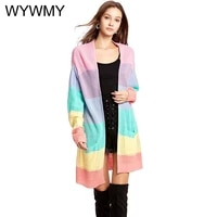 wywmy womens long knitted cardigan sweater office lady elegant plus size loose jacket rainbow striped patchwork sweater coats