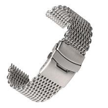 18mm 20mm 22mm 24mm Steel Milanese Shark Mesh Watch Band Strap Silver Bracelet for For Men Women Wri
